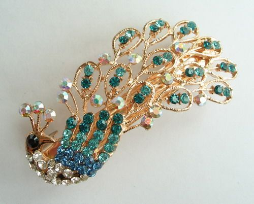 VARY COLORS SWAROVSKI CRYSTAL PEACOCK HAIR BARRETTE CLIP CLAMP 2610