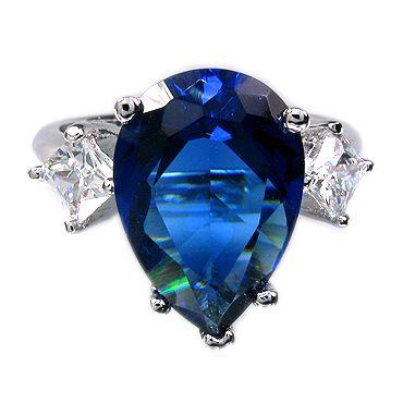 FASHION PERSONALITY 10MM PEAR CUT BLUE SAPPHIRE GEM WHITE GOLD GP RING