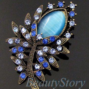 ADDL Item  antiqued rhinestone crystal flower brooch pin