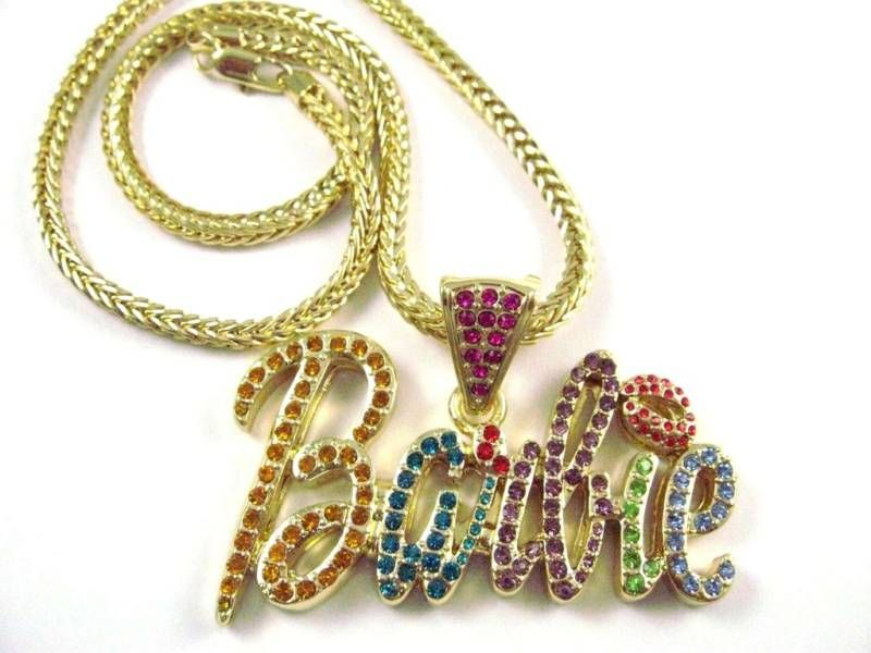 NEW NICKI MINAJ BARBIE Pendant w/Franco Chain Gold Sm