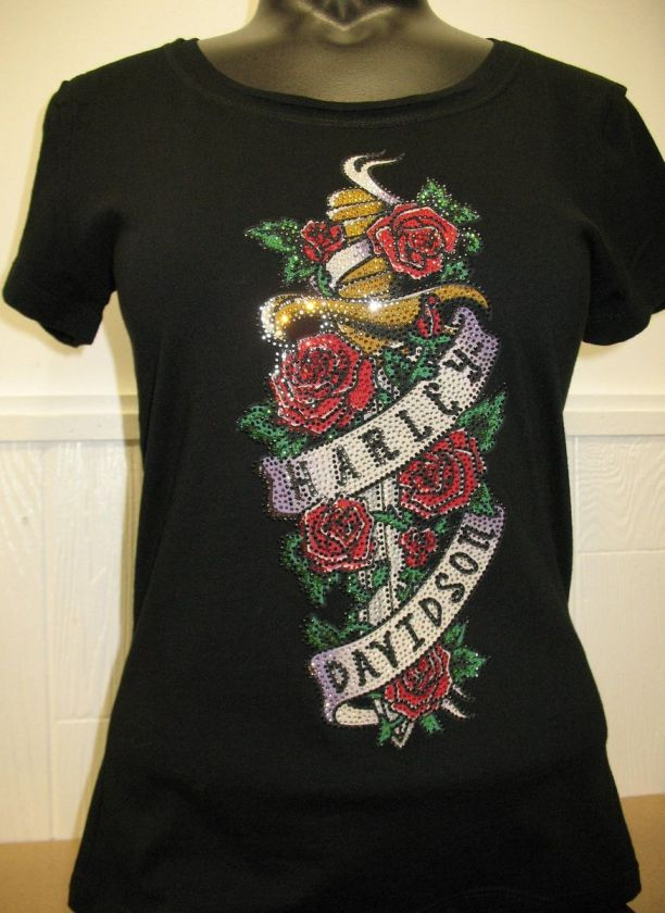Womans Harley Davidson Black T Shirt with Blinged Sword & Roses