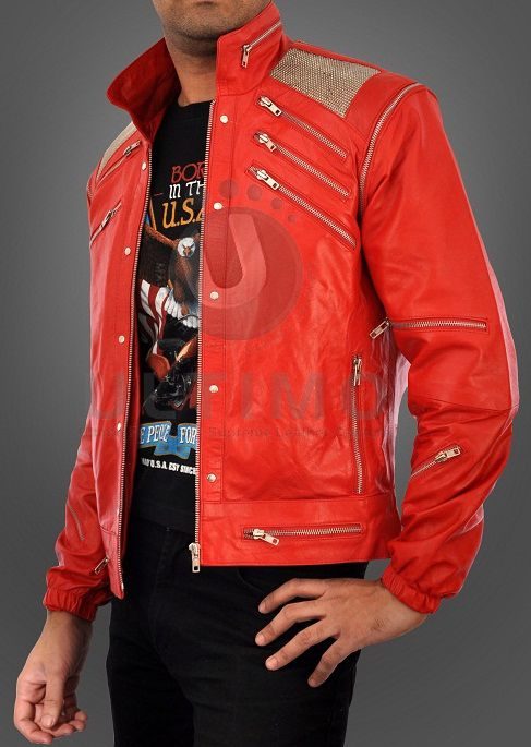 Michael Jackson Beat IT RED Leather Jacket Metal Mesh
