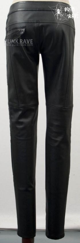 Visual kei PUNK gothic tight zipper man made leather long trousers