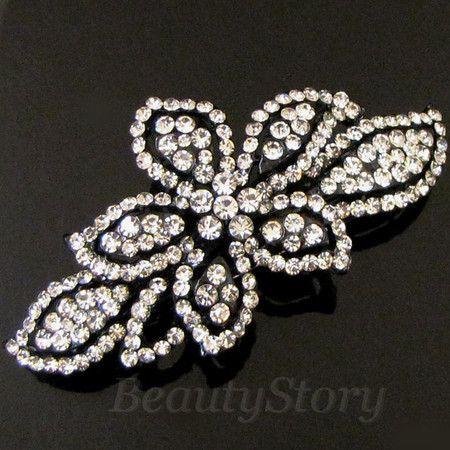 1 pc rhinestone crystal flower hair barrette clip