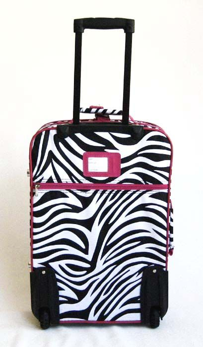 Luggage Set Travel Bag Rolling Case Wheel Upright Pink Zebra