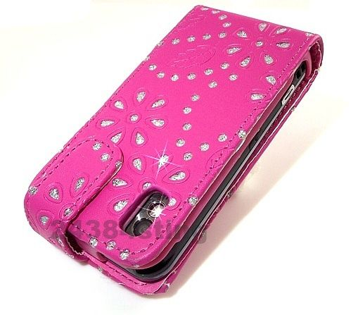 DIAMOND BLING LEATHER FLIP CASE COVER for SAMSUNG TOCCO LITE S5230