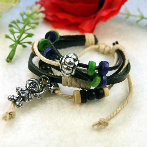 Tibetan Silver wood Hemp Girl pendant leather Bracelet