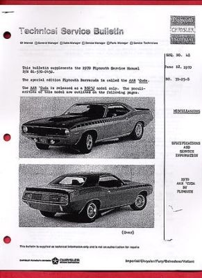1970 PLYMOUTH AAR BARRACUDA 340 CID Engine Service Book
