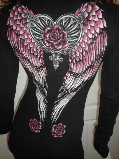 Western Rodeo Angel Wings Roses Rhinestones Tattoo Black Cowgirl Tee T